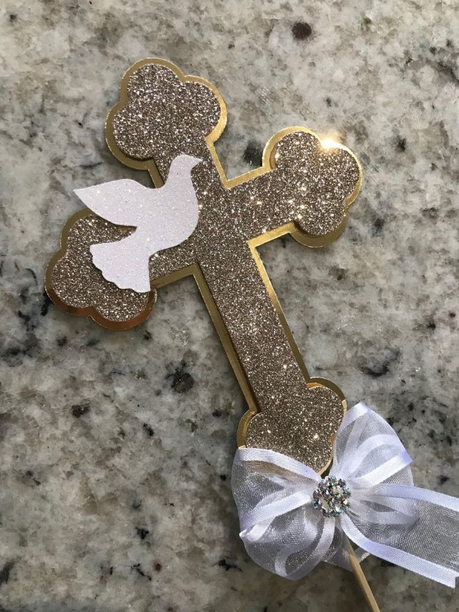 First Holy Communion Cake Topper - Gold Cross